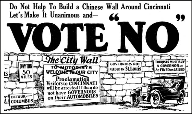 A 1923 ad in the Cincinnati Post, taken out by a coalition of auto dealers. (Cincinnati Post)