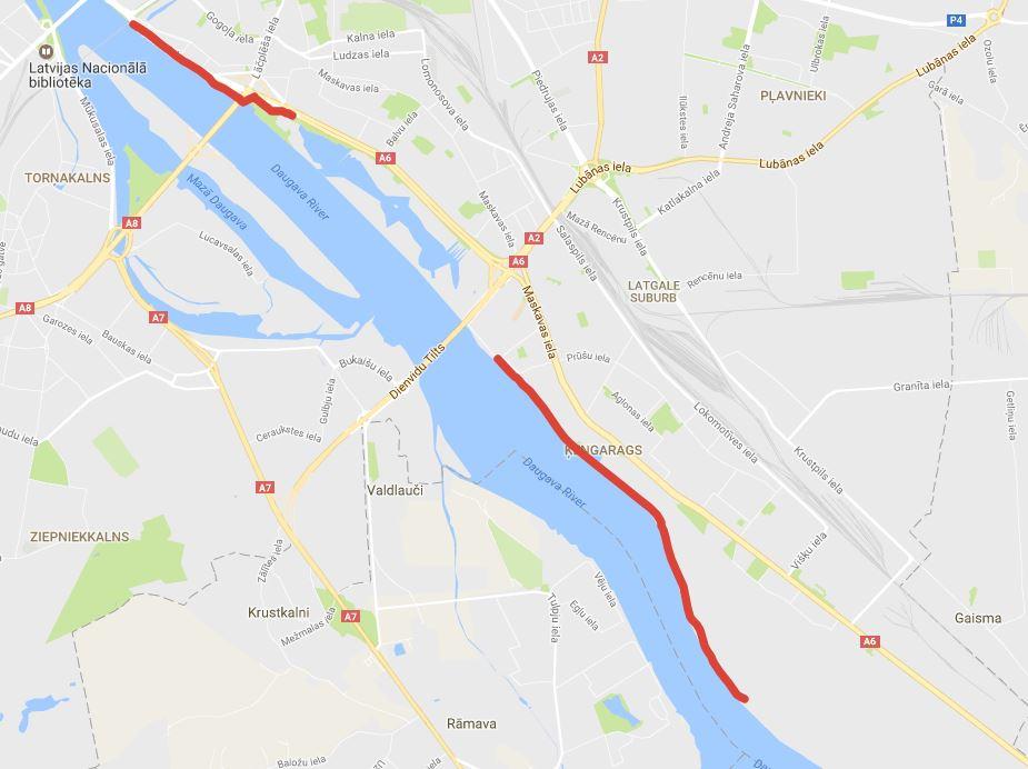 """Veloceļš """"Centrs - Dārziņi"""" Rīgas domes Satiksmes departamenta veloinfrastruktūras kartē."""